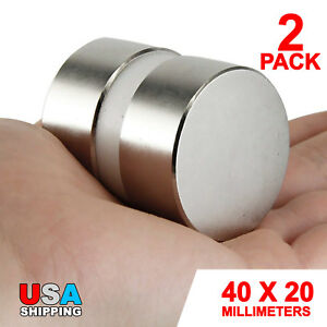 N52 Large 40mm X 20mm Neodymium Rare Earth Magnet Big Super Strong Huge Size 2pk