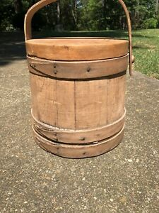Primitive Vintage Wooden Sugar Firkin Bucket With Swing Handle Lid