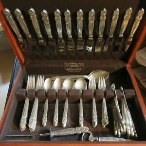 Mid Century Whiting Princess Ingrid Sterling Silver Flatware Service For 12 76pc