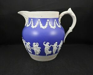 Large Copeland England Blue Pitcher With Dancing Women