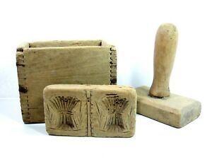 Primitive Wood Butter Press Mold Double Wheat Sheaf Antique Wooden Carved