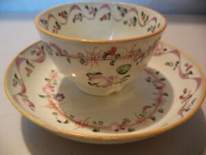 Antique Early 19thc Creamware Pearlware Hand Painted Floral Tea Cup Well Saucer