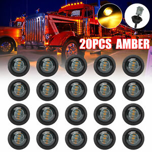 20x Smoked Amber 3 4 Bullet Round Led Side Marker Lights For Trailer Truck Rv