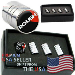 Ford Mustang Roush Shelby Gt Logo Valve Stem Caps Chrome Tire Kit Wheels Cars Us