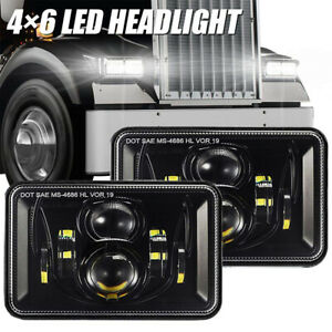 2pcs 4x6 Inch Led Headlights High low Beam Black High Power Bright Work Light