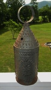 Antique Revolutionary War Era Punched Tin Camp Candle Lantern Paul Revere