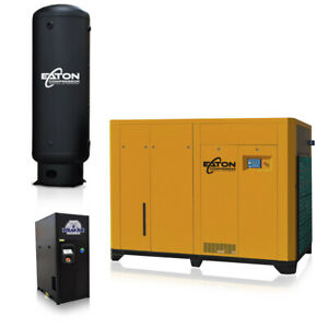 200hp Rotary Screw Air Compressor With Dryer 660 Gallon Tank Package Fixed Speed