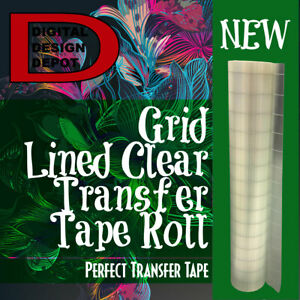 Transfer Tape For Adhesive Vinyl 12in X 30ft Grid lined Clear