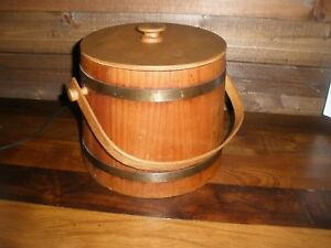 Vtg Wooden Firkin Sugar Bucket With Lid Metal Bands And Swing Peg Wooden Handle