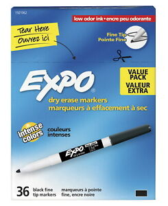 Expo Low Odor Dry Erase Markers Fine Tip Black Pack Of 36