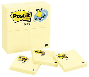 Post it Notes 3 X 3 Inches Canary Yellow 24 Pads With 90 Sheets Each