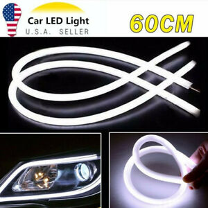 2 X 60cm Flexible Car Switchback Headlight Tube Led Strip Drl Light White