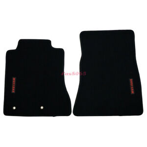 Fits 15 18 Ford Mustang Floor Mats Front Nylon Black W Red Mustang Embrodery