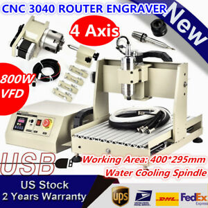Usb 4 Axis 800w 3040 Cnc Router Engraver Machine Drill Mill Wood Carving Cutter