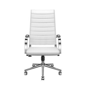 Luxmod Modern High back White Vegan Leather Executive Office Chair Desk