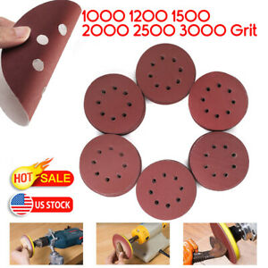 60 120pcs 5 Hook Loop Sanding Discs 1000 1200 1500 2000 2500 3000grit Sandpaper