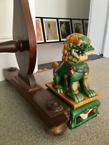 Chinese Exquisite Color Porcelain Foo Fu Dog Dragon Kylin Statue 30 5cm