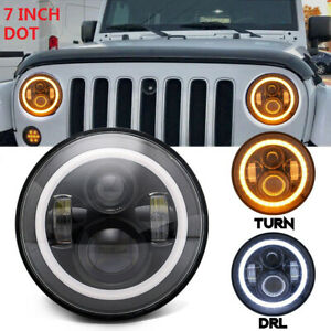 Dot 7inch Round Cree Led Headlight w Halo Angle Eyes For Jeep Wrangler Jk Lj Tj