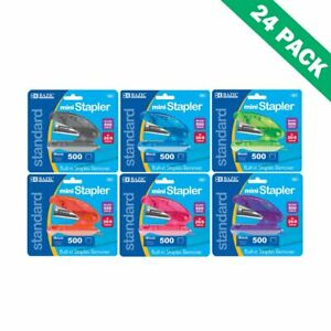Staplers Mini Office Colorful Stapler Standard Staples 500 26 6 Pack Of 24