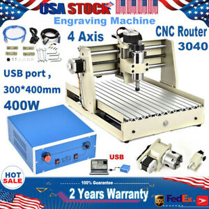 Usb 4 Axis 400w Cnc 3040 Router Engraving Machine Drill Carving Cutter Desktop
