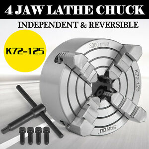 Lathe Chuck K72 125 5 4 Jaw Independent 125mm Wood Turning Milling Machine