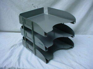 Vintage Industrial 3 Tier Metal Organizer In Out Paper Desk Top Letter Tray