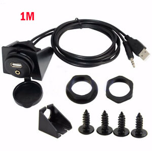 For Car Dashboard Moto Flush Mount Panel Usb 3 5mm M F Aux Lead Extension Cable