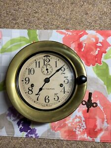 Vintage Seth Thomas Double Wind Maritime Ship Deck Clock 6 Face With Key Works