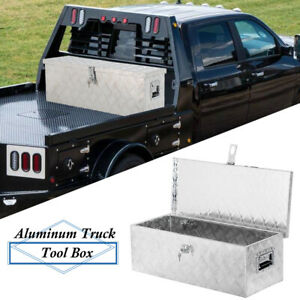 30 x13 x10 Silver Aluminum Pickup Truck Bed Tool Box Trailer Storage W lock