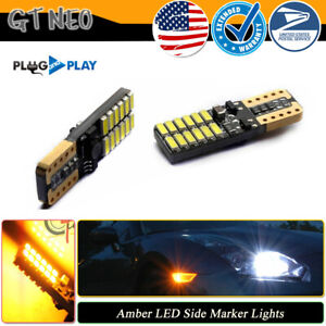 2pcs Bright Amber Yellow Led Bumper Side Marker Lights For Car Truck T10 194 W5w