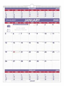 At a glance 3 month Reference Monthly Wall Calendar 22 X 29 2020 Pm102820