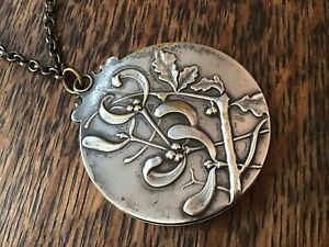 Mistletoe Victorian French Silver Plated Chatelaine Pocket Mirror Chain Pendant