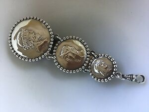 Shiebler Sterling Silver Homeric Medallion Etruscan Chatelaine Clip Watch Fob