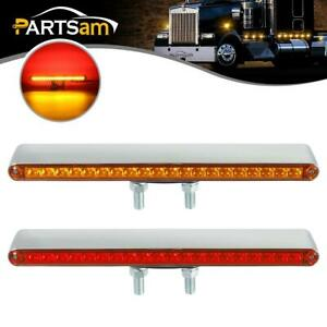 2x12 Red amber 40 Led Dual Face Pedestal Fender Stop Turn Tail Truck Light Bars