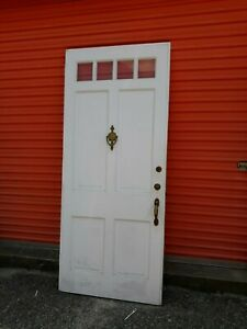 Exterior Vintage Wood Door 4 Small Panes Glass Approx 36 X 83 We Ship