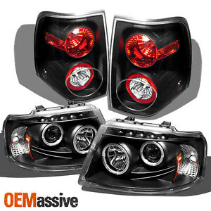 Fits 03 06 Ford Expedition Black Dual Halo Projector Led Headlights Tail Lamp