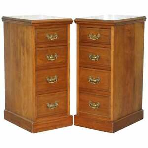 Pair Of Tall Victorian Walnut Chest Of Drawers Lamp Wine Occasional End Tables