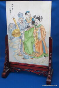 Qing Republic Chinese Table Screen Immortals Gods Stone Shoushan Carved Vase