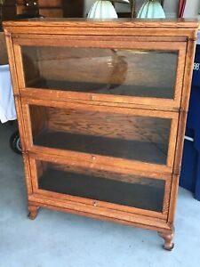 Antique 3 Stack Bullnose Oak Barrister Bookcase Globe Wernicke All Labels 298