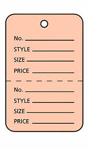 3000 Perforated Tags Price Sale 1 X 1 Two Part Pink Unstrung Tag Small