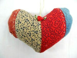 Antique Primitive 4 1 2 Hand Quilted Hanging Valentine Heart Ornament 3