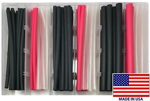 100 6 Heat Shrink Tubing Flexible Adhesive Lined Wire Wrap 3 1 Assortment Kit