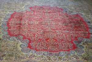 Mint Quality Kirman Antique Hand Knotted Wool Oriental Large Rug 13 6 X 15