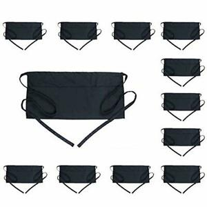 Boharers Server Aprons With 3 Pockets 12 Pack Black Waist Waitress Waiter Half S