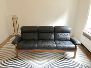 Ekornes Stressless Sofa Mid Century Black Leather Teak Frame Norwegian Couch