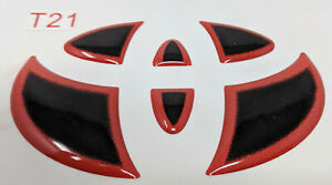 T21 3 Racing Red Trim Decal Sticker Rear Emblem Logo For Toyota Vehicles