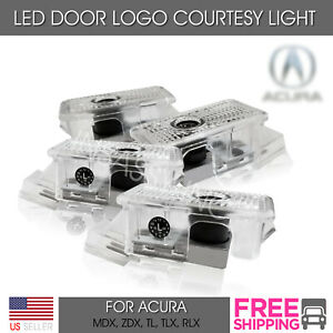 4 Led Door Logo Light For Acura Tl Mdx Rlx Projector Welcome Courtesy Lighting