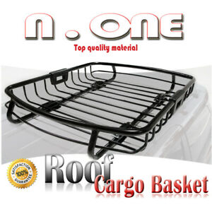 Black Roof Carrier Cargo Basket Top Rack Storage Holder Scion