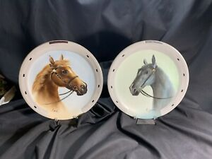 Pair Of Mid Century Handpainted Porcelain Horse Head Plates