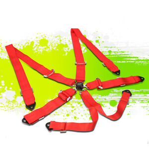 Nrg Sbh 6pcrd 6 point Steel Cam Lock Buckle Racing Seat Belt Safety Harness Red
